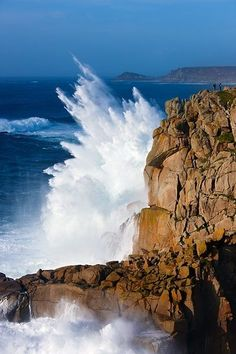 violent waves Landsend UK | Gorgeous ENGLAND -Land's End, UK...look at people on top of cliff in ...