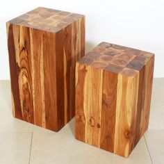 Hand carved teak wood made to look like a block of squares. #End #Table  $209.00