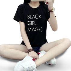 >> Click to Buy << Women Fashion Tee Shirt Cool Black Girl Magic Print Tee Shirt Femme Short Sleeve Black Women Cotton T Shirt Tops Plus Size #Affiliate