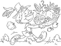 A happy pilgrim bringing in the harvest at Thanksgiving. Free Thanksgiving Coloring Pages, Niece And Nephew, Some Fun, Coloring Books, Drawing, Gifts, Art, Happy, Ideas