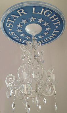 Nursery Ceiling Medallions by Marie Ricci. Star light, star bright medallion and chandelier retails for $310. www.mariericci.com