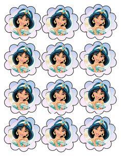 Jasmin Party, Princess Jasmine Party, Disney Princess Cupcakes, Princess Cupcake Toppers, Disney Princess Birthday, Cinderella Birthday, Aladdin Birthday Party, Aladdin Party, Princesa Disney Jasmine