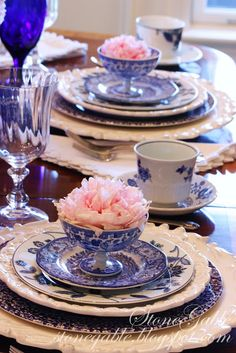 StoneGable: BLUE WILLOW AND PINK PEONIES TABLESCAPE