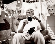 David Hockney at his studio in Los Angeles, April 1982. Photograph by André Emmerich, André Emmerich Gallery records and André Emmerich papers.