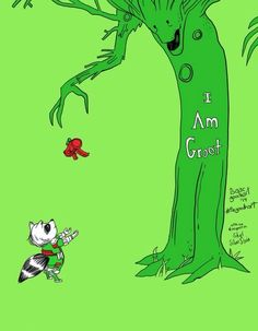 """California-based artist Isaac Goodhart created this awesomely heartwarming pop culture mashup illustration that combines Shel Silverstein's classic story """"The Giving Tree"""" with Marvel Comics' """"Guardians of the Galaxy."""" """"The Giving Groot"""" replaces the selfless apple tree with Groot and the boy she loved with Rocket Raccoon and we desperately wish it was a real book."""