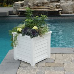 Mayne Lakeland 20 x 20 patio planter in white! Made in the USA! www.gomayne.com