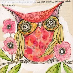 red owl painting - watercolor - print - limited edition and archival print, 8 x 8 inches by cori dantini.