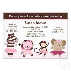Tutu Cute/Ballerina Animals Baby Shower Invitation