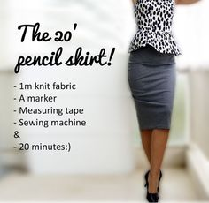 Sewing Skirts Free Sewing Tutorial: Pencil Skirt - Knit Pencil Skirt Here is a fabulous and smart pencil skirt. An easy and quick sewing tutorial, a great one even for anyone who is starting to learn to sew. Get the free sewing tutorial for this Knit Diy Clothing, Sewing Clothes, Clothing Patterns, Sewing Patterns, Barbie Clothes, Pencil Skirt Tutorial, Knit Pencil Skirt, Pencil Skirts, Pencil Skirt Patterns