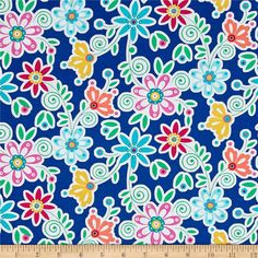 Michael Miller La Dee Da Bloom De Da Navy from @fabricdotcom From Michael Miller, this cotton print fabric features colorful, simple floral designs that add a charming feel to the fabric. Perfect for quilting, apparel and home decor accents. Colors include white, coral, mustard, green and shades of blue and pink.