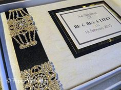 "Luxury Boxed & Personalised Gatsby Art Deco 1920's theme Wedding Guest Book (Large 8""x10"", Dark ivory/Cream) Paper Memories http://www.amazon.co.uk/dp/B00RM0VSF2/ref=cm_sw_r_pi_dp_TZE2vb1D0RQ8H"