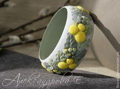 """Купить Браслет """"Краспедия"""" цветочный из полимерной глины - широкий браслет…"""