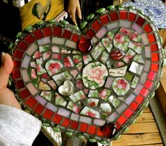 """""""I give my heart to you"""" mosaic tile valentine heart . had charcoal grout that day . in hindsight should have used white . next time:) Mosaic Garden Art, Mosaic Art, Mosaic Glass, Mosaic Tiles, Glass Art, Stained Glass, Mosaic Mirrors, Heart Diy, Heart Crafts"""