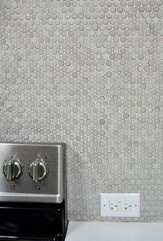 Penny tile from Young House Love Quartz Backsplash, Beadboard Backsplash, Herringbone Backsplash, Mosaic Backsplash, Subway Tile Backsplash, Kitchen Backsplash, Mirror Backsplash, Backsplash Ideas, Young House Love