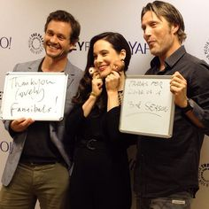 Behind the scenes at the #Hannibal Tumblr GIF-erview with Hugh Dancy, Caroline Dhavernas, and Mads Mikkelsen. http://nbchannibal.tumblr.com #PaleyFest #YahooLive. paleycenter's photo on Instagram