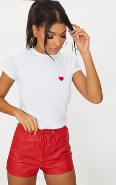 White Love Heart Jersey T Shirt