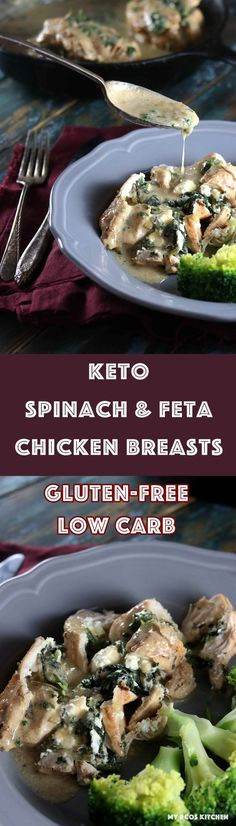 Keto Spinach & Feta Stuffed Chicken Breast with Creamy Sauce - My PCOS Kitchen - A delicious starch-free and gluten-free cream sauce over stuffed chicken breasts! This simple meal will impress the whole family! Diet Dinner Recipes, Lunch Recipes, Diet Recipes, Cooking Recipes, Keto Dinner, Ketogenic Recipes, Ketogenic Diet, Recipies, Spinach Feta Chicken