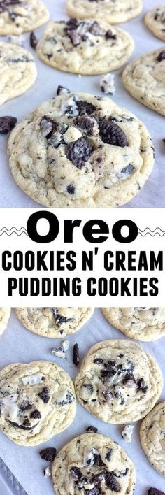 Oreo cookies & cream pudding cookies are thick, super soft thanks to the pudding mix in the dough, and totally addictive! Cookies n cream chocolate candy bars, Oreo pudding mix, and Oreo cookies are a (Chocolate Cream Pudding) Oreo Desserts, Just Desserts, Delicious Desserts, Yummy Food, Oreo Treats, Plated Desserts, Biscuit Oreo, Oreo Cookies, Oreo Pudding Cookies