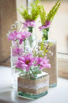 Family Budget Wedding Bottle Hessian Flowers http://www.lightandstories.com/