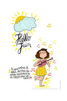 HELLO JUIN AVEC MATHOU French Quotes, Illustrations, Graphic Design Illustration, Love Book, Caricature, Doodles, Sketches, Clip Art, Positivity