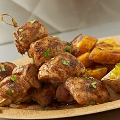 Jerk Chicken Skewers With Fried Plantains And Florida Orange Mango Chutney ‹ Florida Department of Citrus