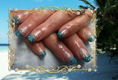Turquoise and glitter.