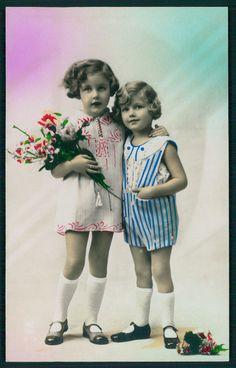 Art Deco 1920s original vintage photo postcard child mini dress flower girl | eBay