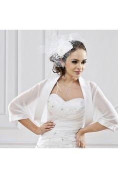 bolro en organza manches courtes ivoire noir ou blanc accessoires de la marie - Bolero Mariage Blanc