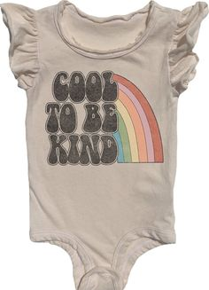 Its cool to be kind! Girlie onesies, oh my! Extra soft onesie with adorable ruffle short sleeves. Dont forget to put on a classic record for the sweetest little babe <3 Available in two sizes up to 12M.