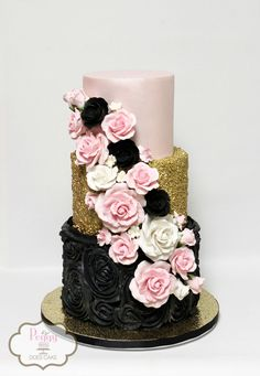 50th birthday cake in pink, gold, and black!  #pinkblackgoldcake #pinkandblackcake #pinkandgoldcake #blackandgoldcake #goldsequincake #blackrosescake #pinkandblackrosescake #peggydoescake