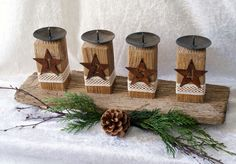 advent candles simple and rustic Christmas Mood, Christmas Candles, Christmas Decorations, Christmas Ornaments, Advent Candles, Diy Candles, Primitive Christmas, Rustic Christmas, Macrame Wall Hanging Diy