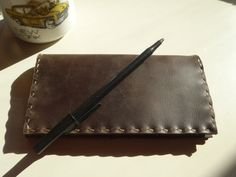 Handmade Chocolate Brown Leather Checkbook by CSherwoodLeather