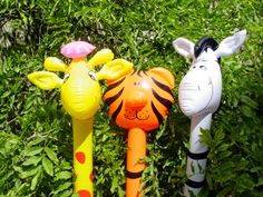 four foot tall animal balloons their great for jungle parties children love them at parties Christmas Stocking Fillers, Christmas Gifts, Three Best Friends, Jungle Party, Balloon Animals, Child Love, Giraffe, Garden Sculpture, Balloons