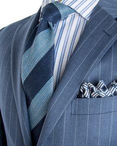 Belvest | Blue Grey Stripe Suit | Apparel | Men's