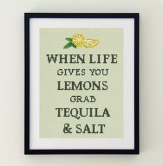 Funny cross stitch quote pattern Lemons & Tequilla #aff