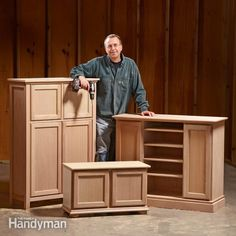 looking for inexpensive diy furniture plans? these three projects will show you how to turn stock kitchen cabinets into a tv stand, a storage cabinet and an entry bench.
