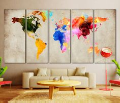 Colorful World Map Art - Extra Large 5 panel Canvas Print for Home or Office Decoration / Wall Art World Map