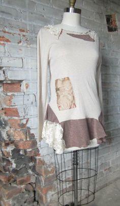 Shabby chic tattered tunic top / gold glitter and vintage lace hemline/ artsy Boho clothing / Sz M