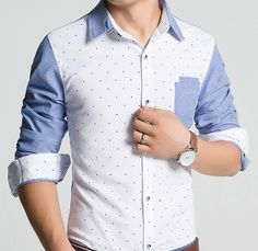 Mens Dotted Shirt with Contrasting Pocket