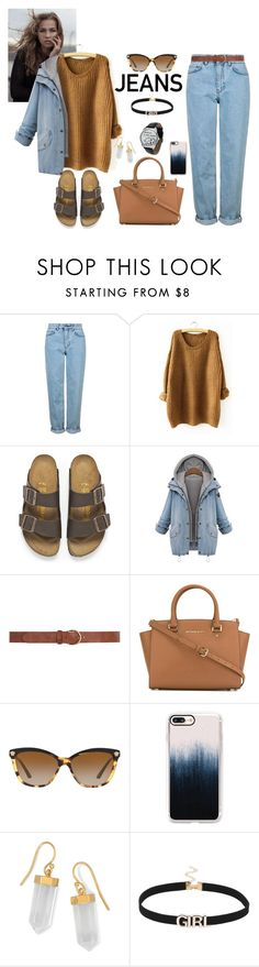"""""""Jeane Jeans"""" by lenachkka ❤ liked on Polyvore featuring Topshop, Birkenstock, Dorothy Perkins, MICHAEL Michael Kors, Versace, Casetify and BillyTheTree"""