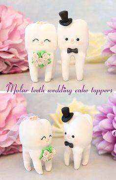 Molar teeth wedding cake toppers