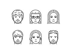 I illustrated the whole Aerolab's team for the website! You can see it here: aer… – Frauen Haar Modelle People Illustration, Character Illustration, Doodle People, Fantasy Character, Doodle Frames, Face Icon, Drawing Expressions, Tiny Prints, Vector Portrait