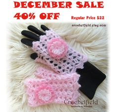 December Sale 40% OFF Pink Crochet Mittens with by Crochetfield
