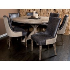 Salvaged Wood Round Dining Table & 6 Sanibel Island Chairs Retail   $6589 Our Price  $2749
