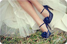 Blue polka dot vintage shoes