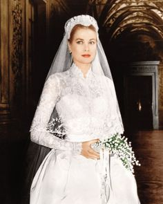 Bridal Makeup and Skincare | Martha Stewart Weddings - When the Hollywood legend married Prince Rainier III of Monaco in 1956, her porcelain complexion and matte red lips were just as stunning as her dress, which was designed by Academy Award winner Helen Rose and made from 25 yards of taffeta and 125-year-old lace.