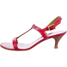 Pre-owned Loro Piana Leather T-Strap Sandals ($145) ❤ liked on Polyvore featuring shoes, sandals, red, red shoes, stacked heel sandals, red leather shoes, red ankle strap sandals and leather t strap sandals