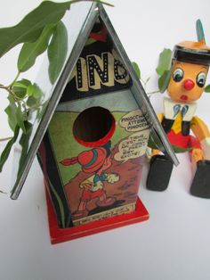 Vintage French Pinocchio Birdhouse by futtatinni on Etsy, $18.00