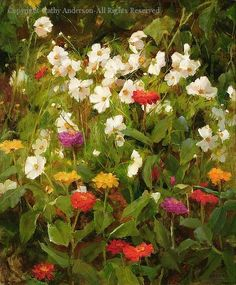 Mixed Zinnias and Cosmos - Oil by Kathy Anderson