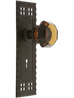 Arts & Crafts Mortise Door Set With Amber Crystal Knobs | House of Antique Hardware
